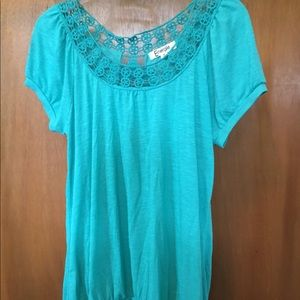 ❗️3 for $15❗️Energie Turquoise Crocheted Blouse